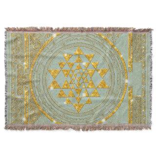 Sri Yantra Golden Glitter - Throw Blanket