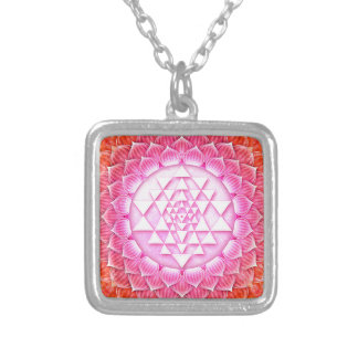 Sri Yantra - Lotos Silver Plated Necklace