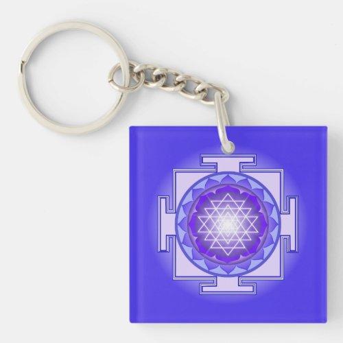 Sri Yantra Mandala Purple and Blue Keychain