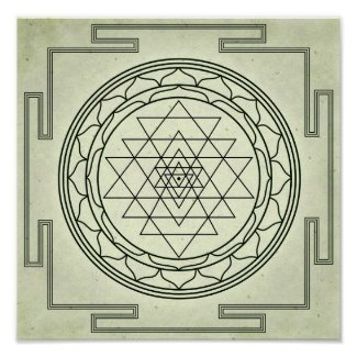 Sri Yantra on Parchment Poster