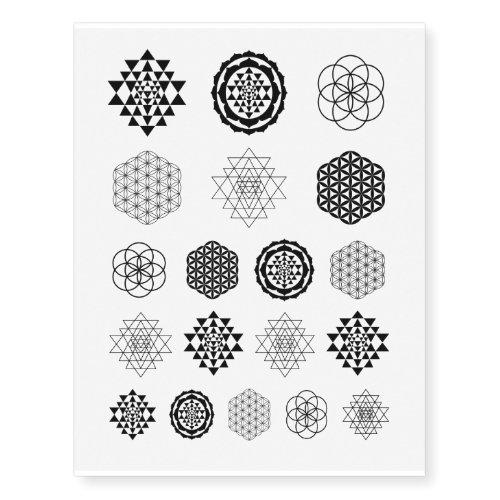 Sri Yantra Sacred Geometry Temporary Tattoos