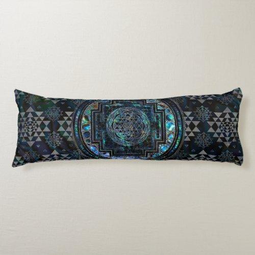 Sri Yantra   Sri Chakra Abalone Shell and Silver Body Pillow