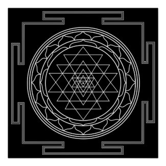 Sri Yantra White on Black Poster