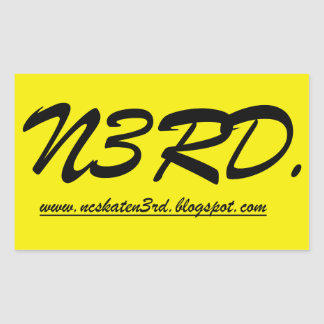 sricker amarillo/negro del patín n3rd pegatina rectangular