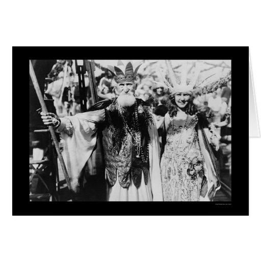 Srta. América y Neptuno 1922 Tarjeta De Felicitación