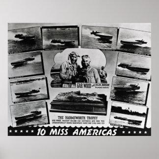 Srta. Américas de madera 10 del lepisosteus Poster