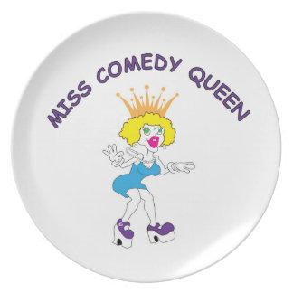 Srta. Comedy Queen Melamine Plate Plato De Cena