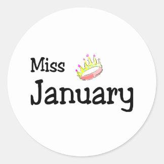 Srta. enero pegatinas redondas