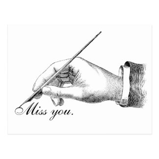 Srta. escrita mano usted tarjeta postal