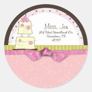 Srta. Etiquetas de correo/pegatinas de la torta de Etiquetas Redondas