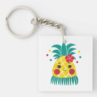 Srta. Hawaiian Pineapple Llavero Cuadrado Acrílico A Una Cara
