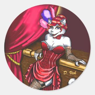 Srta. Kitty Sticker Etiquetas Redondas