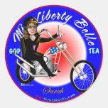 Srta. Liberty Belle Pegatina Redonda