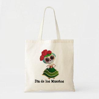 Srta. muerte de Dia de Muertos mexican Bolsa Tela Barata