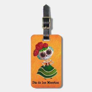 Srta. muerte de Dia de Muertos mexican Etiqueta De Equipaje