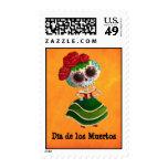 Srta. muerte de Dia de Muertos mexican Franqueo