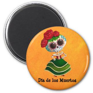 Srta. muerte de Dia de Muertos mexican Imán Redondo 5 Cm