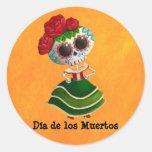 Srta. muerte de Dia de Muertos mexican Pegatina Redonda