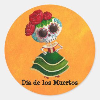 Srta muerte de Dia de Muertos mexican Pegatina Redonda