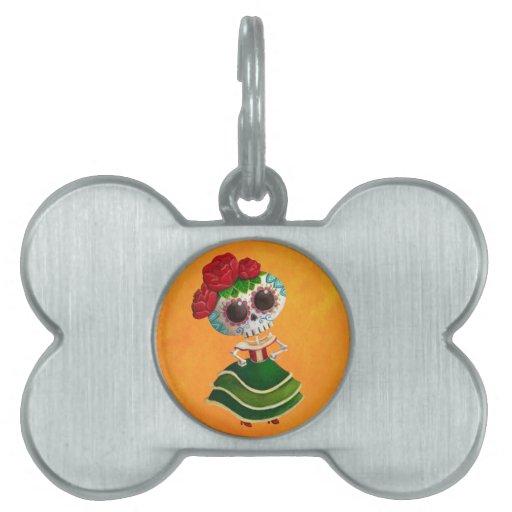 Srta. muerte de Dia de Muertos mexican Placa De Mascota