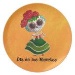 Srta. muerte de Dia de Muertos mexican Plato