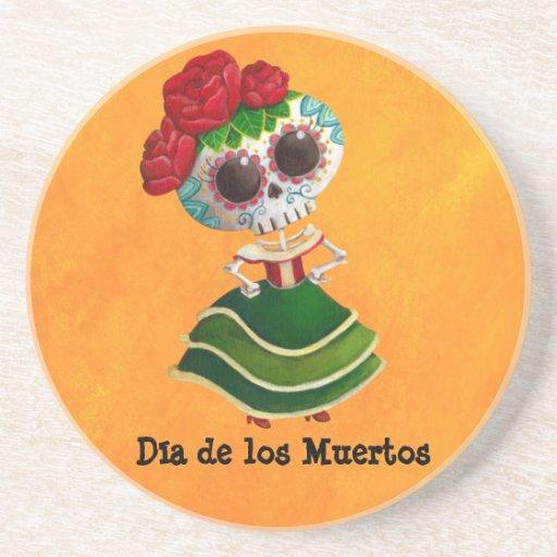 Srta. muerte de Dia de Muertos mexican Posavasos Cerveza