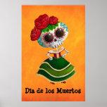 Srta. muerte de Dia de Muertos mexican Póster