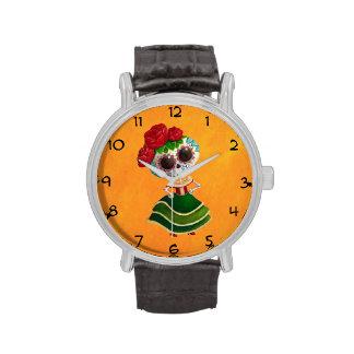 Srta muerte de Dia de Muertos mexican Relojes De Pulsera