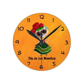 Srta. muerte de Dia de Muertos mexican Reloj De Pared