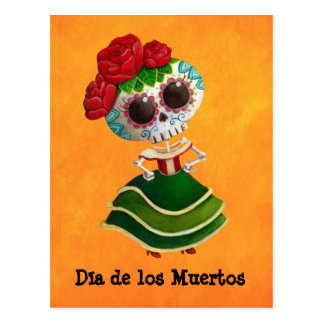 Srta. muerte de Dia de Muertos mexican Tarjeta Postal