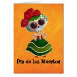 Srta. muerte de Dia de Muertos mexican Tarjetas