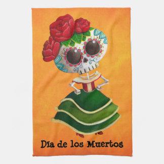 Srta. muerte de Dia de Muertos mexican Toallas De Mano