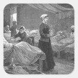 Srta. Nightingale en el hospital del cuartel Pegatina Cuadrada