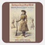 Srta. occidental Annie Oakley de la vaquera del Pegatinas Cuadradas Personalizadas