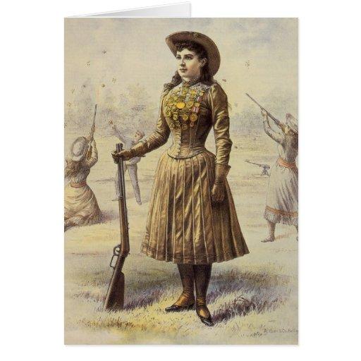 Srta. occidental Annie Oakley de la vaquera del Tarjeton