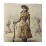 Srta. occidental Annie Oakley de la vaquera del vi Azulejos Cerámicos