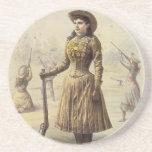 Srta. occidental Annie Oakley de la vaquera del vi Posavasos Diseño