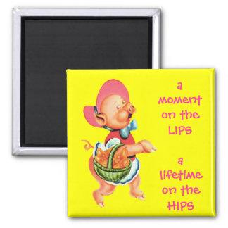 Srta. Piggy Fridge Magnet del hippy Imán Cuadrado