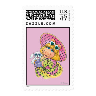 Srta. Piggy Holding Puppy Timbre Postal
