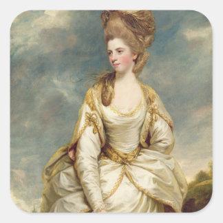 Srta. Sarah Campbell, 1777-78 (aceite en lona) Pegatina Cuadrada
