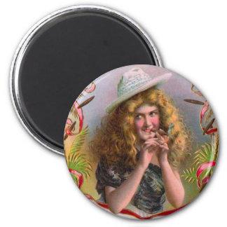 Srta. Sly Cigars de la etiqueta de la caja de Imán Redondo 5 Cm