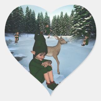 Srta. Sticker de Chris del duende de la nieve del Pegatina En Forma De Corazón