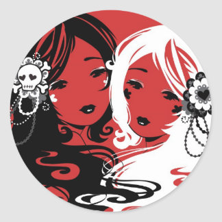 Srta Sugar y Srta Cyanide Stickers Etiqueta
