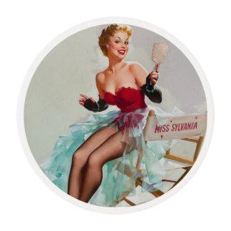 Srta. Sylvania Pin-Para arriba Girl Papel De Azúcar Redondo