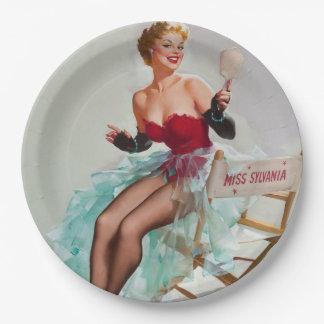 Srta. Sylvania Pin-Para arriba Girl Plato De Papel De 9 Pulgadas
