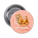 Srta. Trouble, botón redondo de Yorkie de la Chapa Redonda 5 Cm