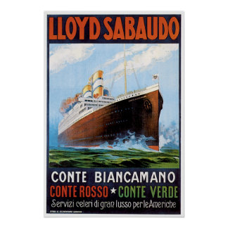 SS Conte Biancamano - anuncio de la nave del vinta Impresiones