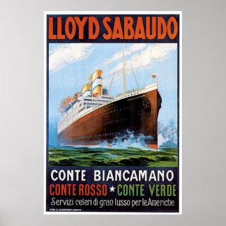 SS Conte Biancamano - anuncio de la nave del vinta Póster