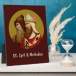 """SS. Cyril &amp; Methodius (M 001) 8&quot;x10&quot; Vertical Plaque<br><div class=""""desc"""">SS. Cyril &amp; Methodius (M 001) Antique image of SS. Cyril &amp; Methodius from an early 20th century chromolithographic devotional print in the Art Nouveau style (from the designer's private collection of religious ephemera) Feast: February 14 Coordinating colors (with their hex codes) for the SS. Cyril and Methodius image include:...</div>"""