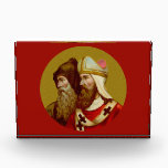 """SS. Cyril &amp; Methodius (M 001) Horiz Paperweight or Acrylic Award<br><div class=""""desc"""">SS. Cyril &amp; Methodius (M 001) Antique image of SS. Cyril &amp; Methodius from an early 20th century chromolithographic devotional print in the Art Nouveau style (from the designer's private collection of religious ephemera). Feast: February 14 Coordinating colors (with their hex codes) for the SS. Cyril and Methodius image include:...</div>"""